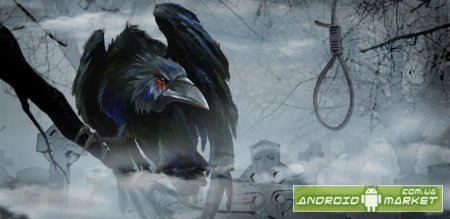 Raven on graveyard wallpaper