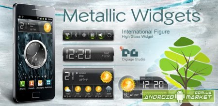 HD Metallic Widgets -  погода, часы, батарея