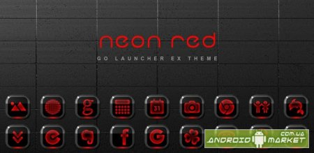 Neon Red GO Launcher EX Theme